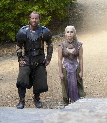 Daenerys (Emilia Clarke) and Ser Jorah (Iain Glen)